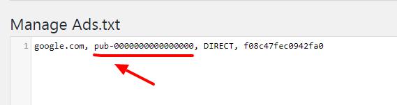 paste the google adsense code in ads.txt file