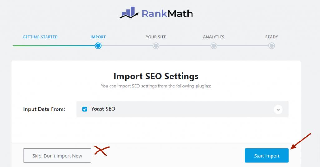 Import data From Yoast SEO to Rank Math